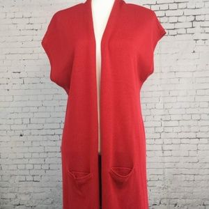 NWT CHICO'S Long Red Sweater Vest  Women's 1 (M-8)